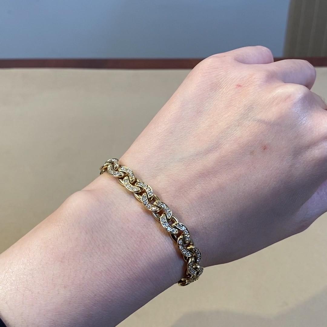 Art Deco Sterlé Diamond Link Bracelet 1.92CT in Yellow Gold