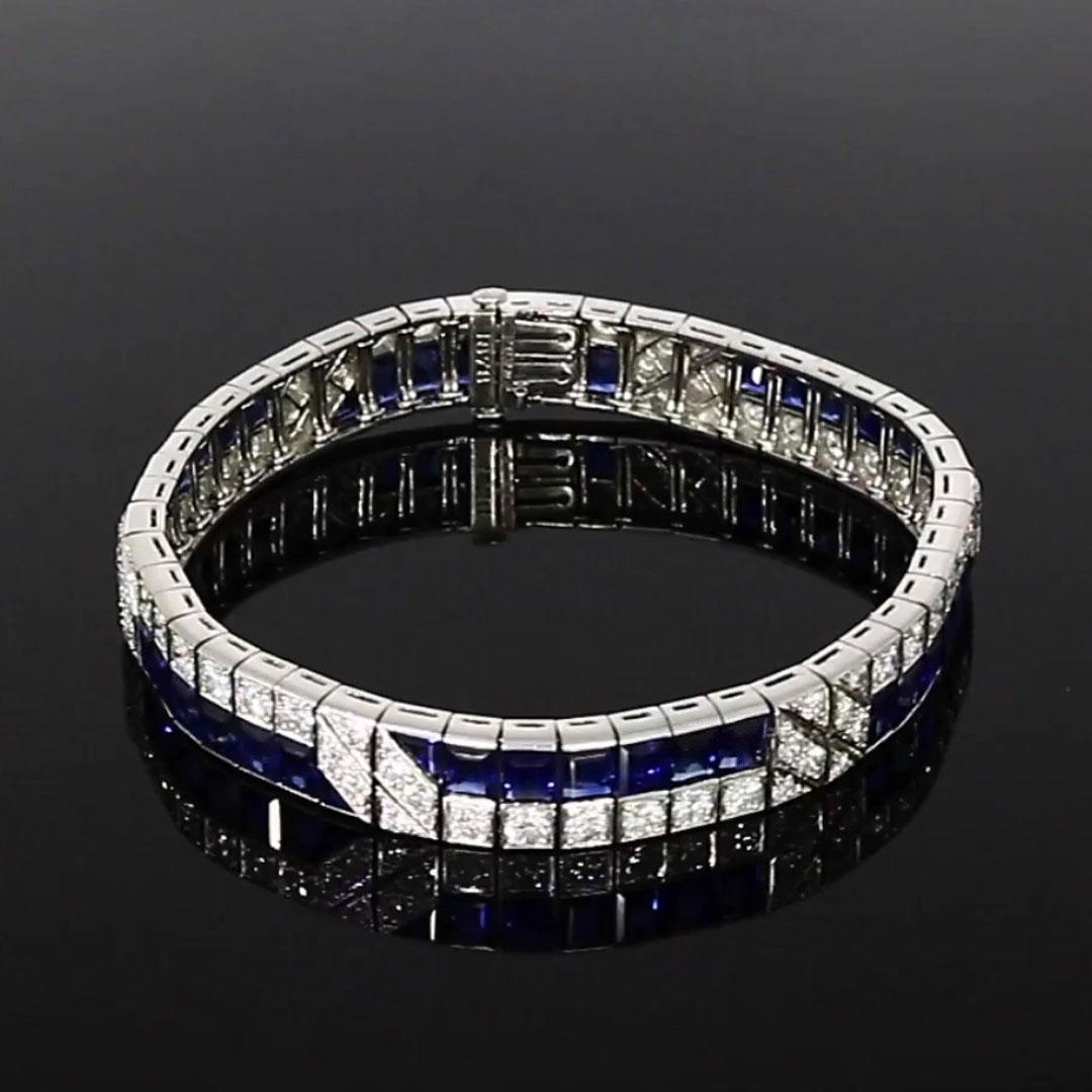 Art Deco Sapphire & Diamond Bracelet<br /> in White Gold