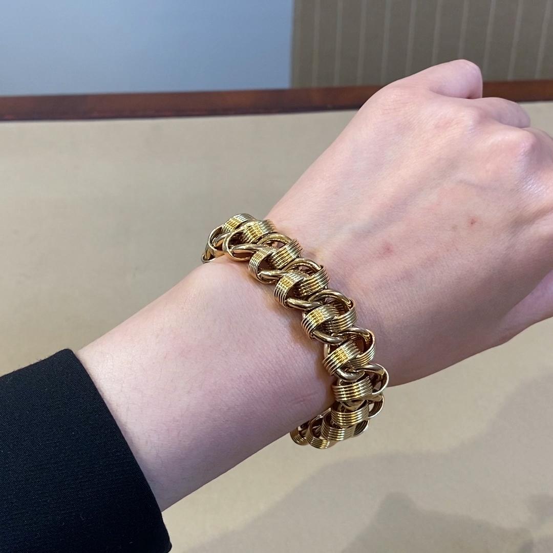 1980s Fancy Link Bracelet<br /> in Yellow Gold