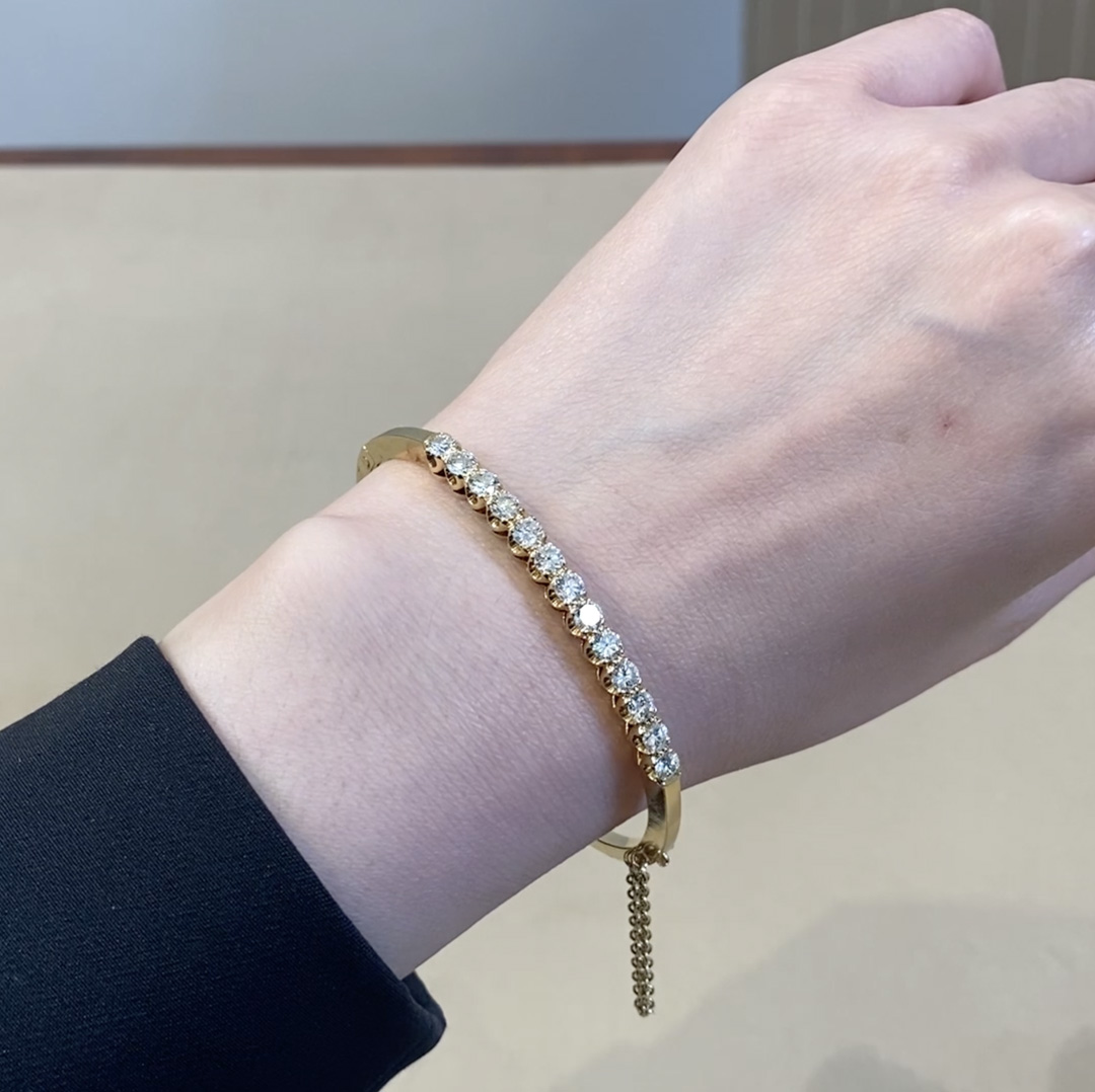 Contemporary Diamond Bangle<br /> 2.47CT in Yellow Gold