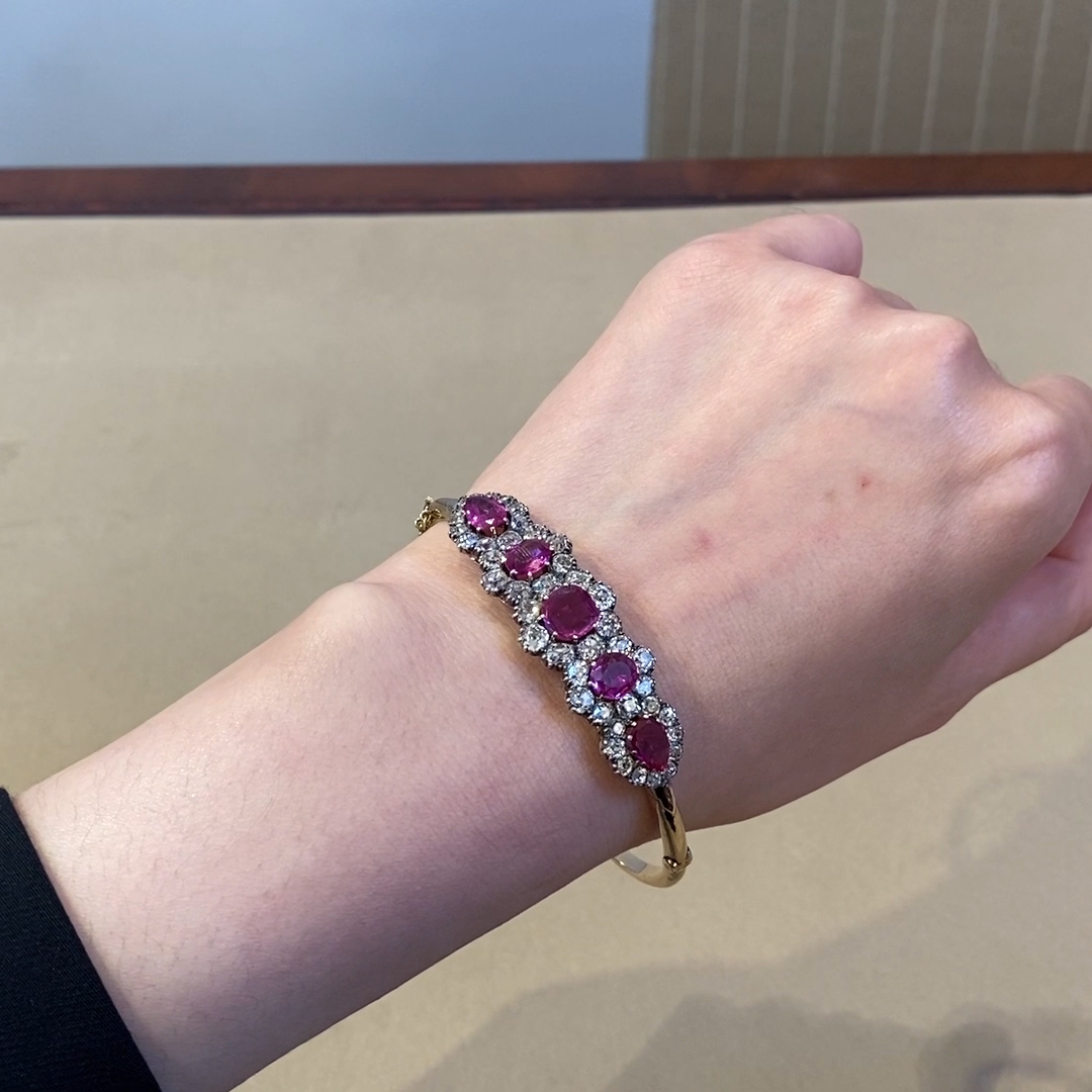 Victorian Burmese Ruby & Diamond Bangle<br />  9.95ct in 15ct Yellow Gold & Silver