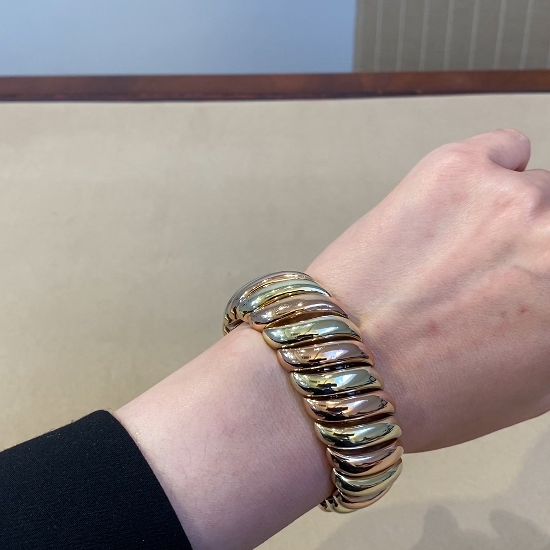 """Contemporary """"S"""" Link Bracelet<br /> in Yellow & Rose Gold"""