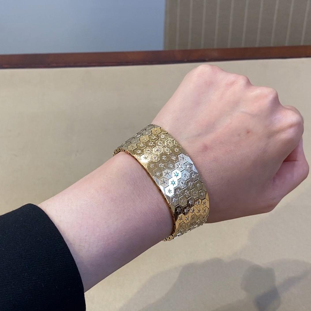 Art Deco Diamond Honeycomb Bracelet<br /> 3.14CT in Yellow Gold