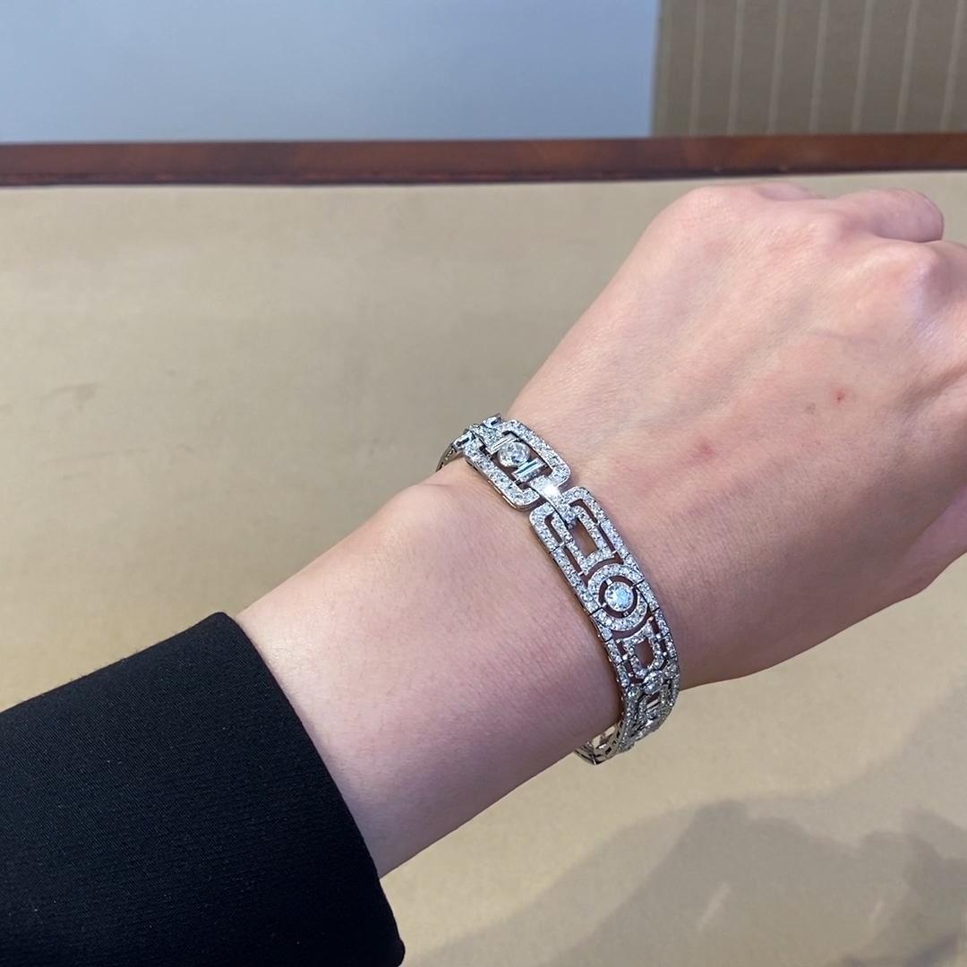 Art Deco Diamond Bracelet <br /> in Platinum