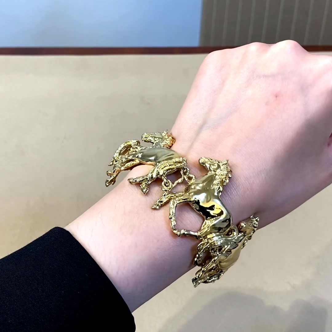 Walter Lampl Prancing Horse Cuff Bracelet <br />  18ct Yellow Gold