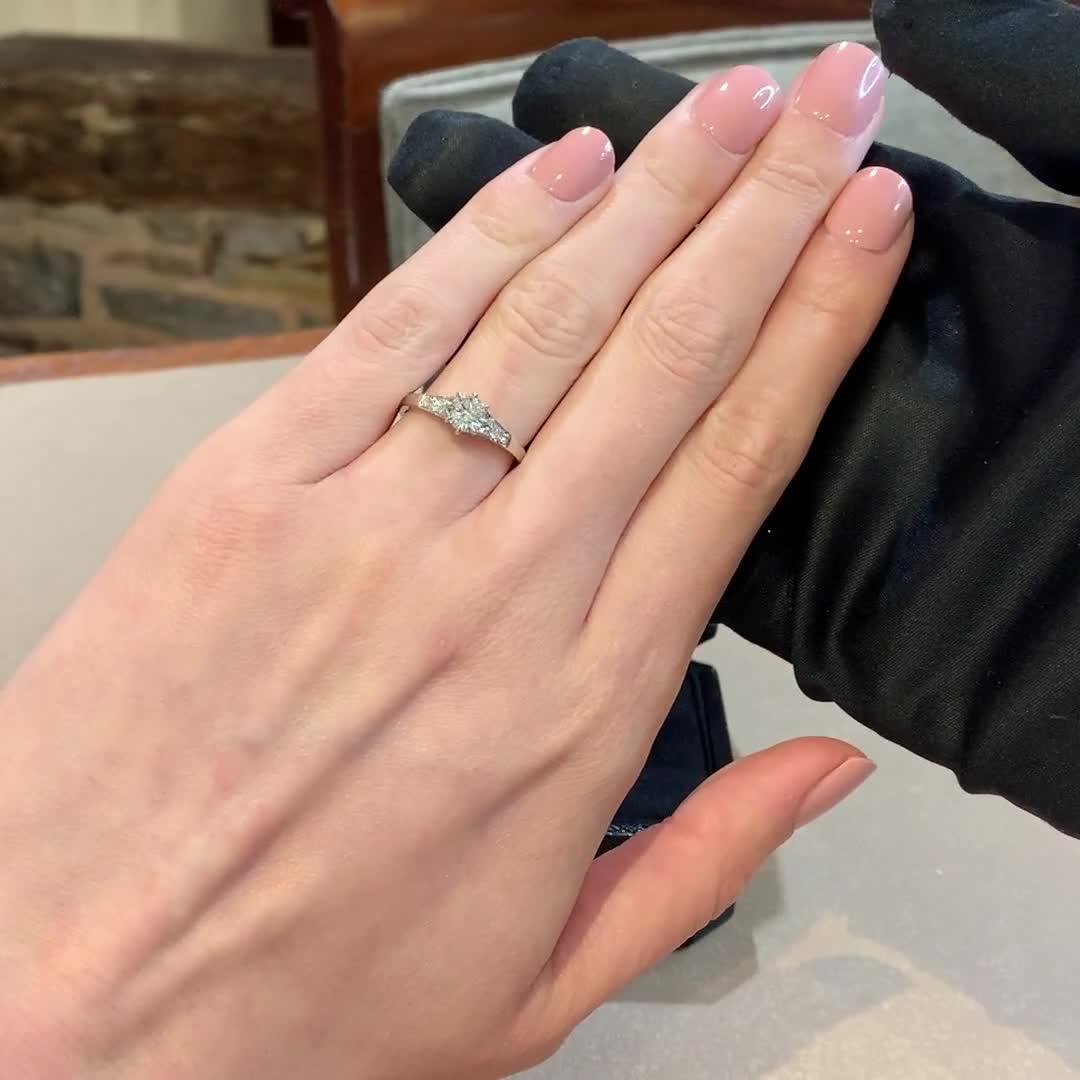 0.77CT Diamond Solitaire Ring<br /> Platinum Antrobus Setting
