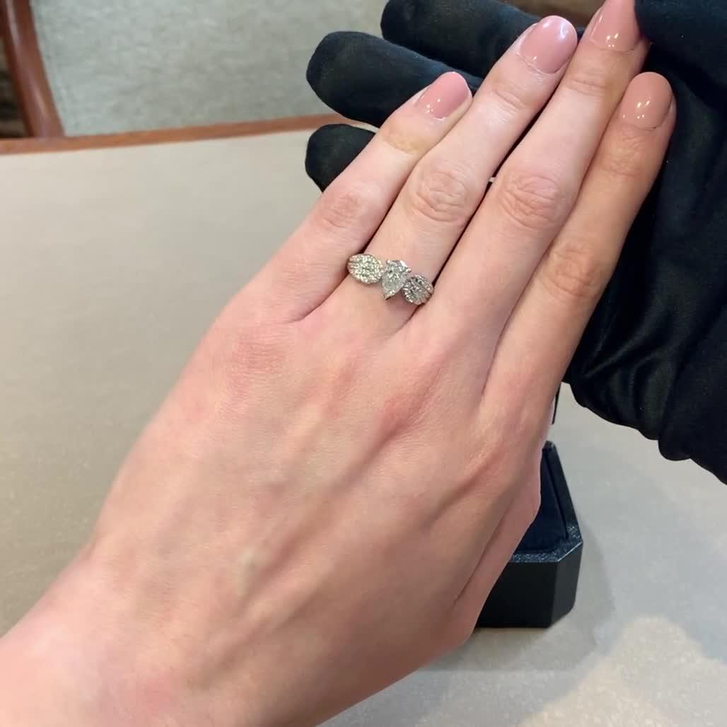 Tiara Pear and Brilliant Diamond Ring <br /> 0.91ct in Platinum