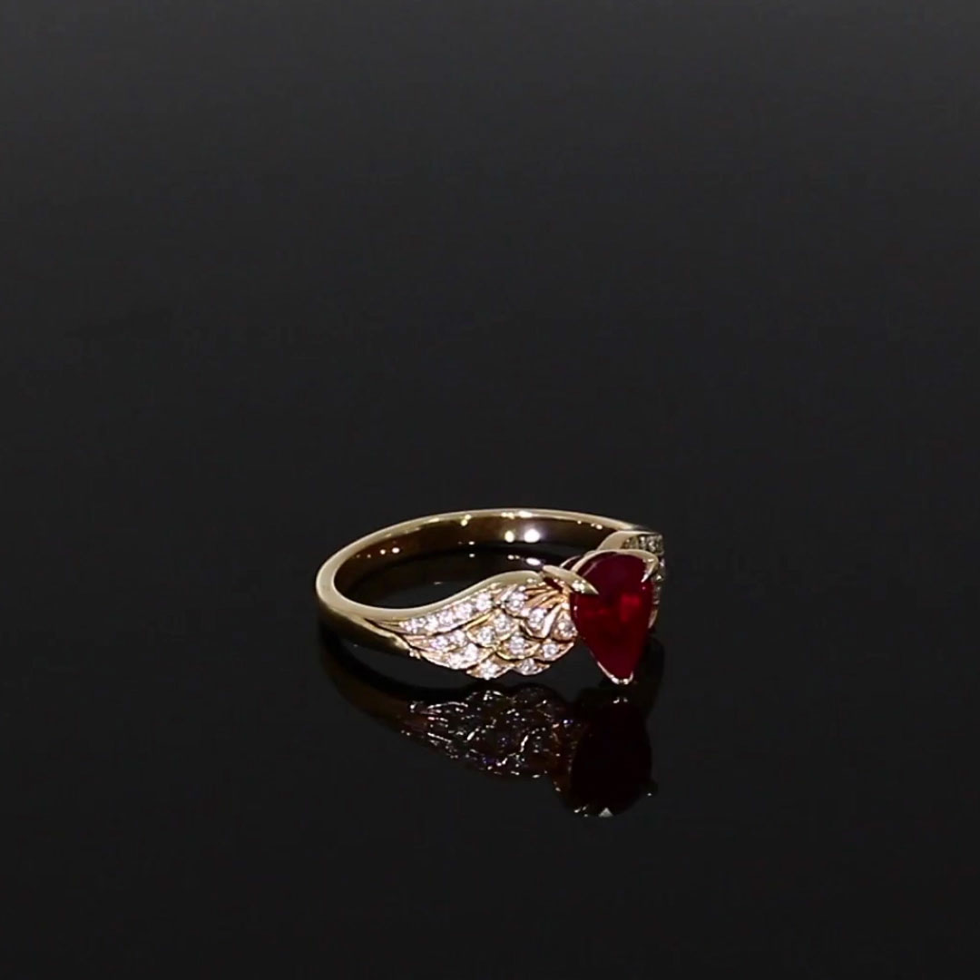 Tiara Pear Cut Ruby and Brilliant Diamond Ring <br /> 1.17ct in Rose Gold