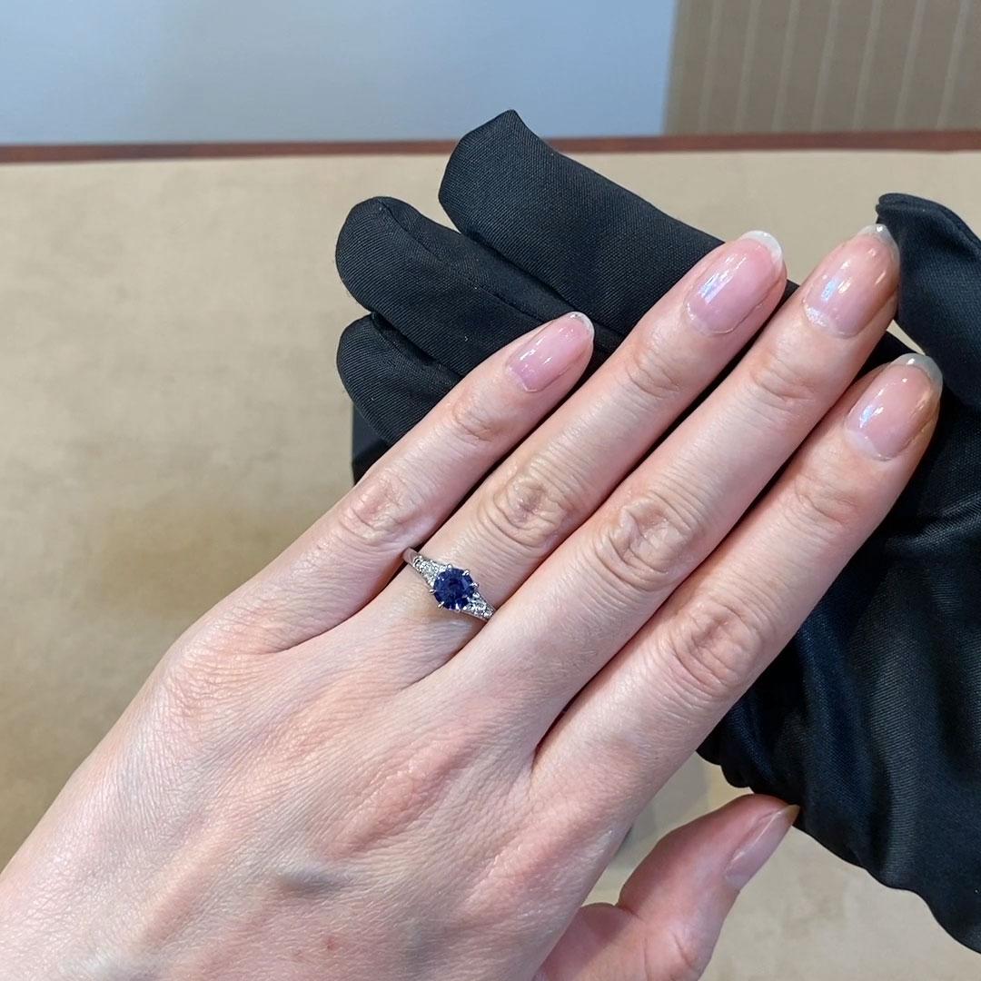 Antrobus Sapphire Ring<br /> 1.16CT in Platinum