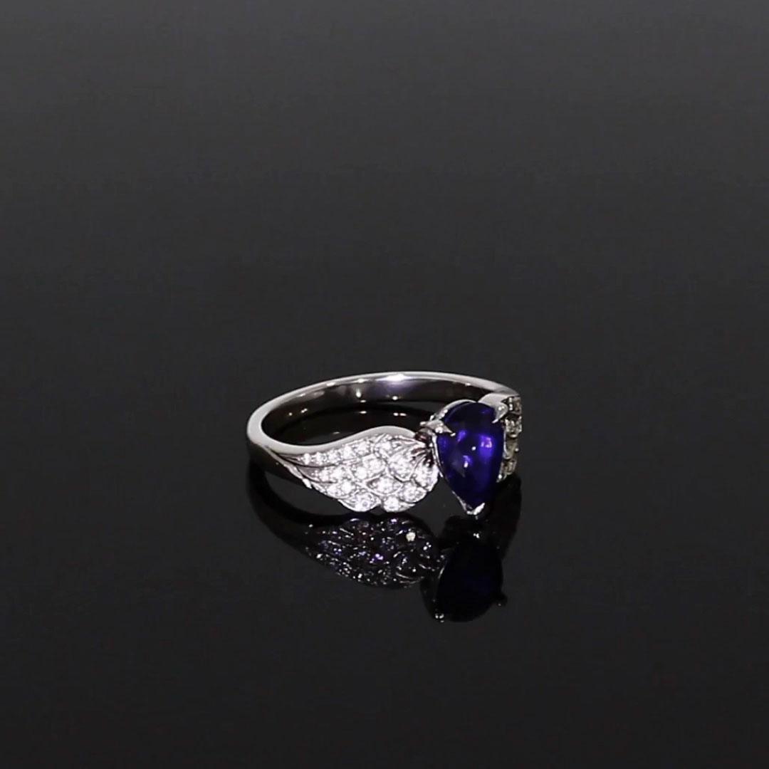 Tiara Pear Cut Sapphire and Brilliant Diamond Ring <br /> 1.28ct in Platinum