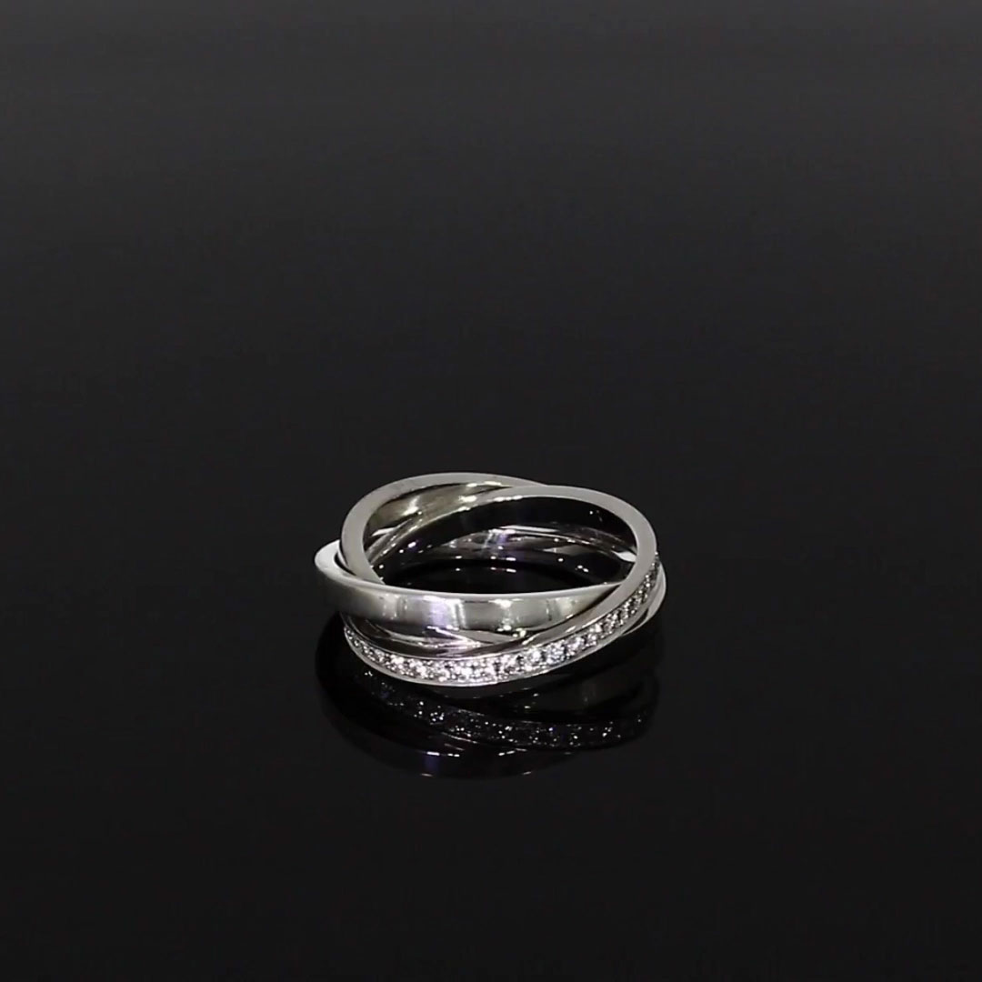 Trilogy Three-Row Diamond Ring<br /> 0.54CT in 18CT White Gold