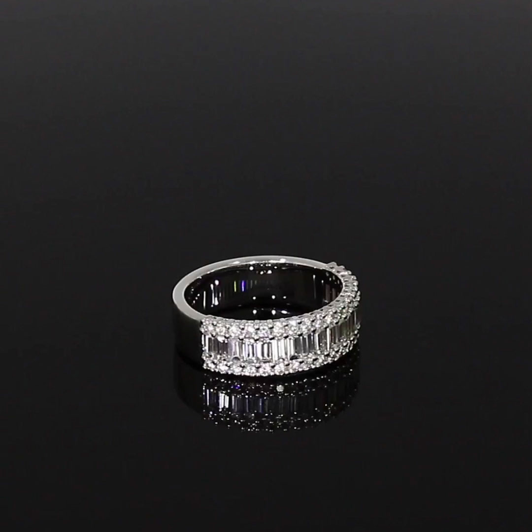 Baguette Cut Diamond Half Eternity Ring<br /> 1.52CT in 18CT White Gold