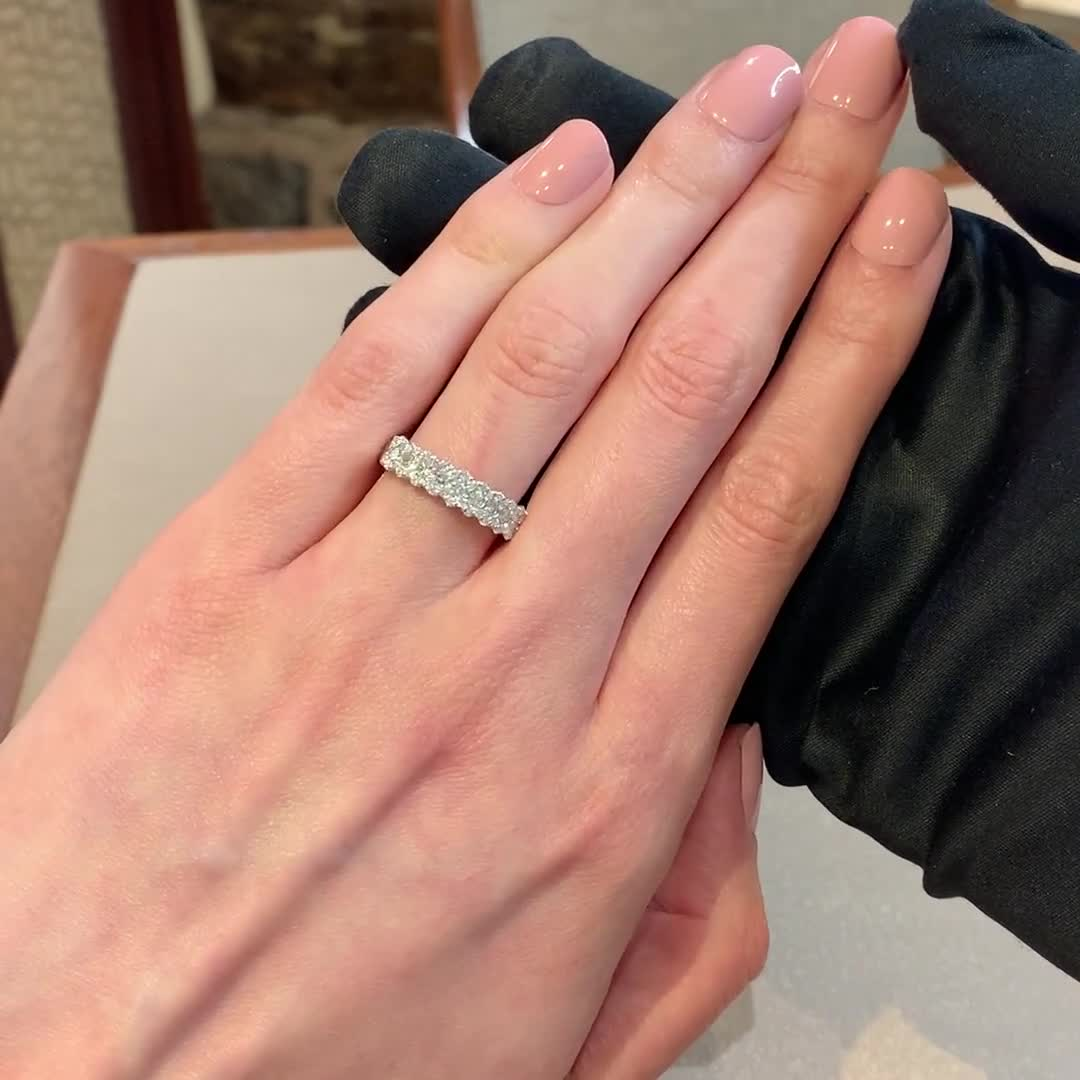 Brilliant Cut Diamond Half Eternity Ring<br /> 0.77CT in 18CT White Gold