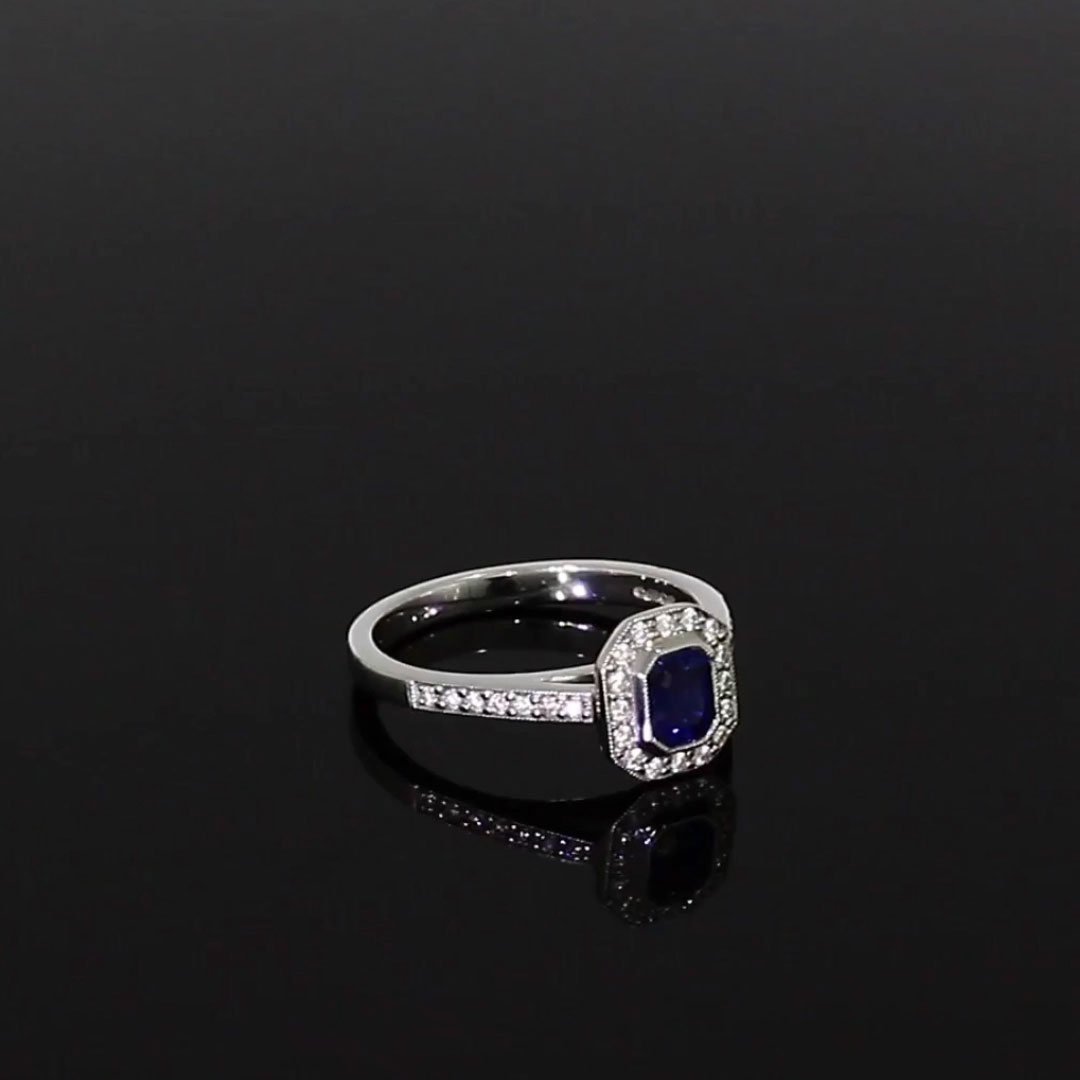 Octagonal Cut Sapphire Ring<br /> 0.56CT in 18CT White Gold