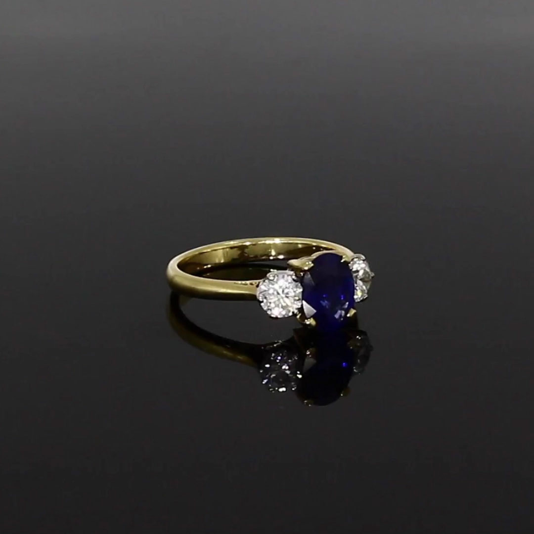 Sapphire and Diamond<br /> 1.38CT in Yellow and White Gold