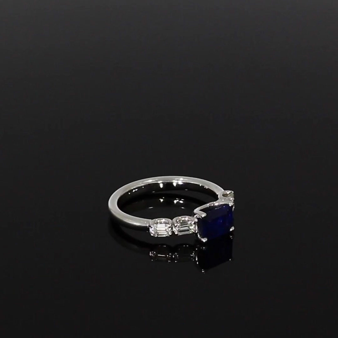 Five Stone Sapphire and Diamond Ring <br /> 1.81ct in White Gold