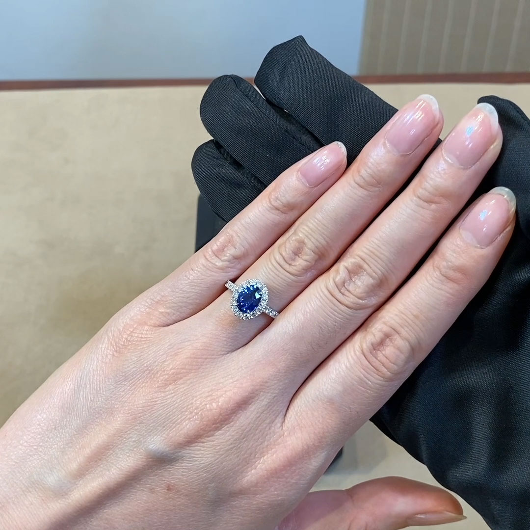 Oval Cut Sapphire and Diamond Ring<br /> 1.23CT in Platinum