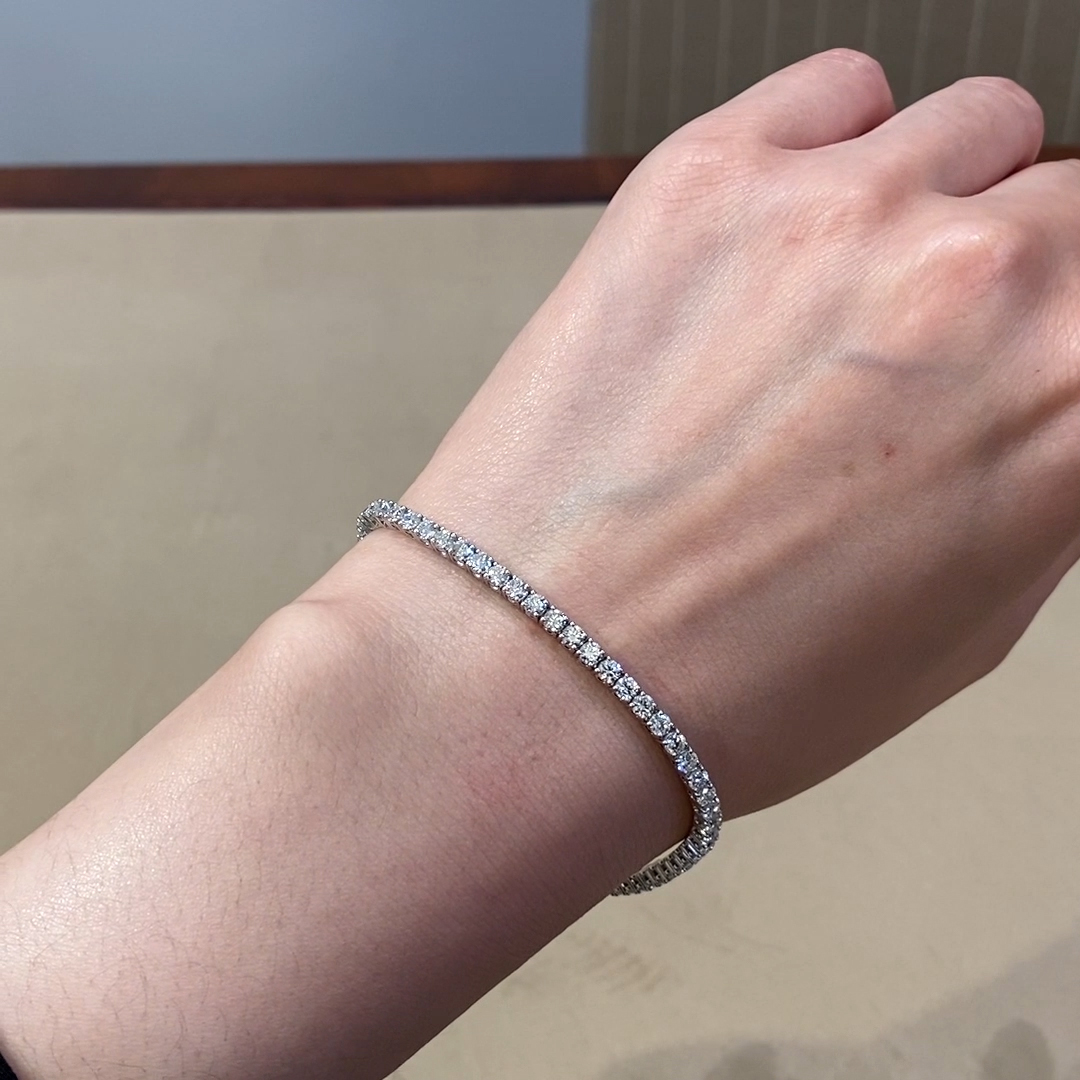 Brilliant Cut Diamond Line Bracelet<br /> 4.41CT in 18CT White Gold