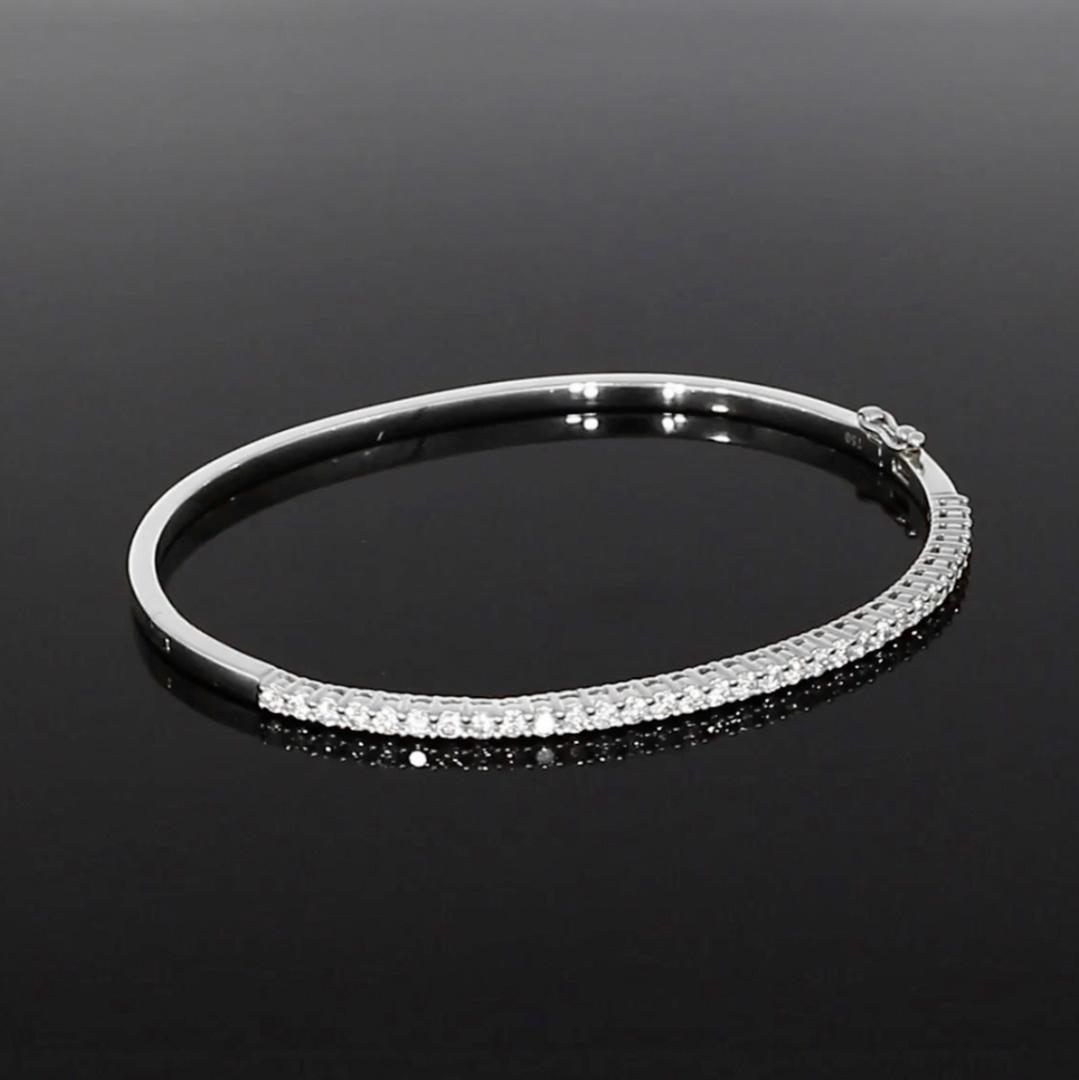 Diamond Half Hoop Bangle<br /> 1.04CT in 18CT White Gold
