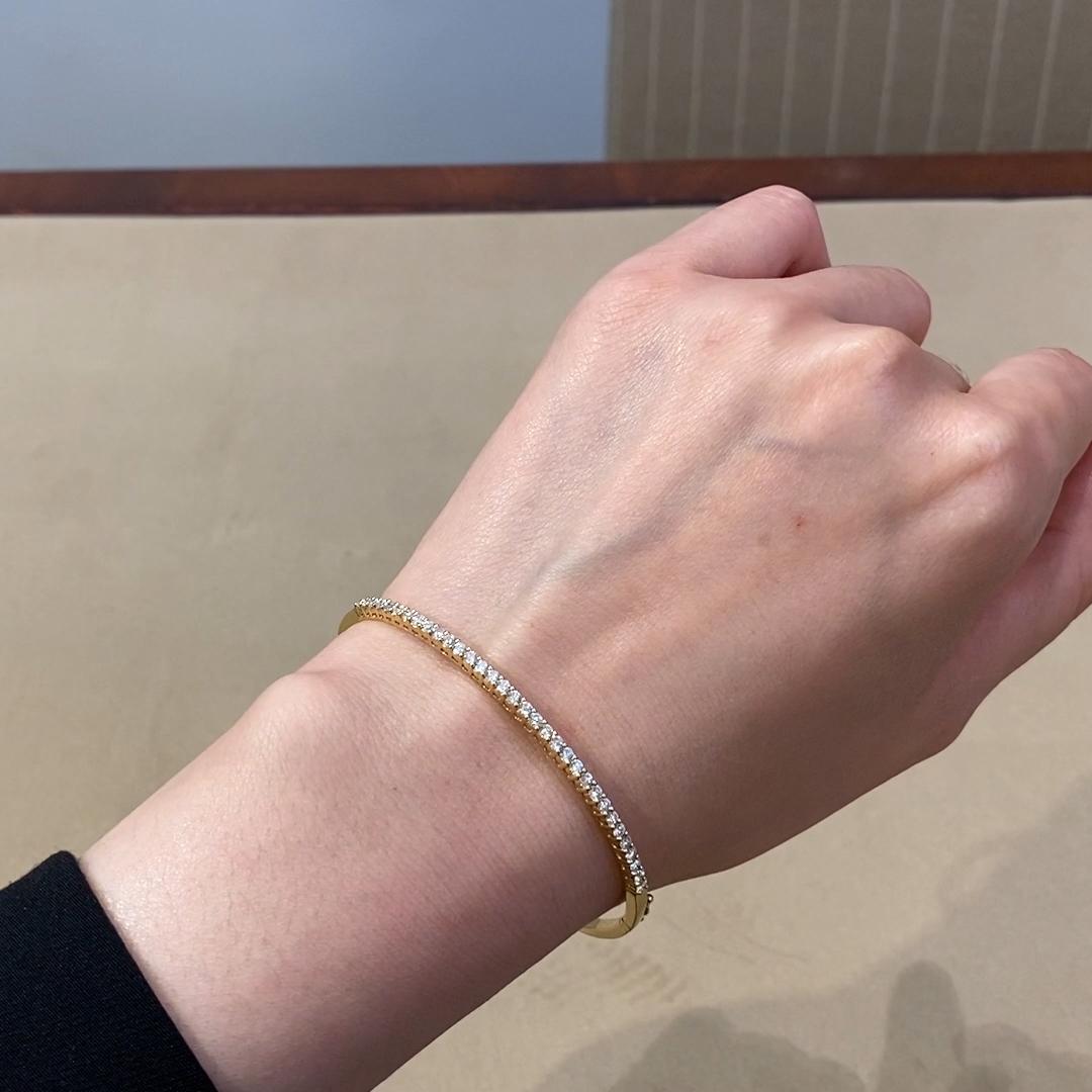 Diamond Half Hoop Bangle<br /> 1.04CT in 18CT Yellow Gold