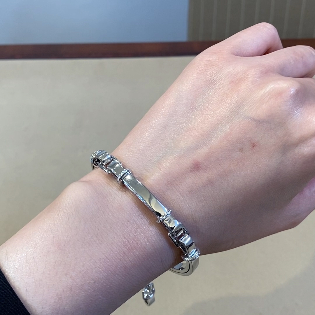 Bridle Link Bracelet with Brilliant Diamonds <br /> 0.66ct in White Gold
