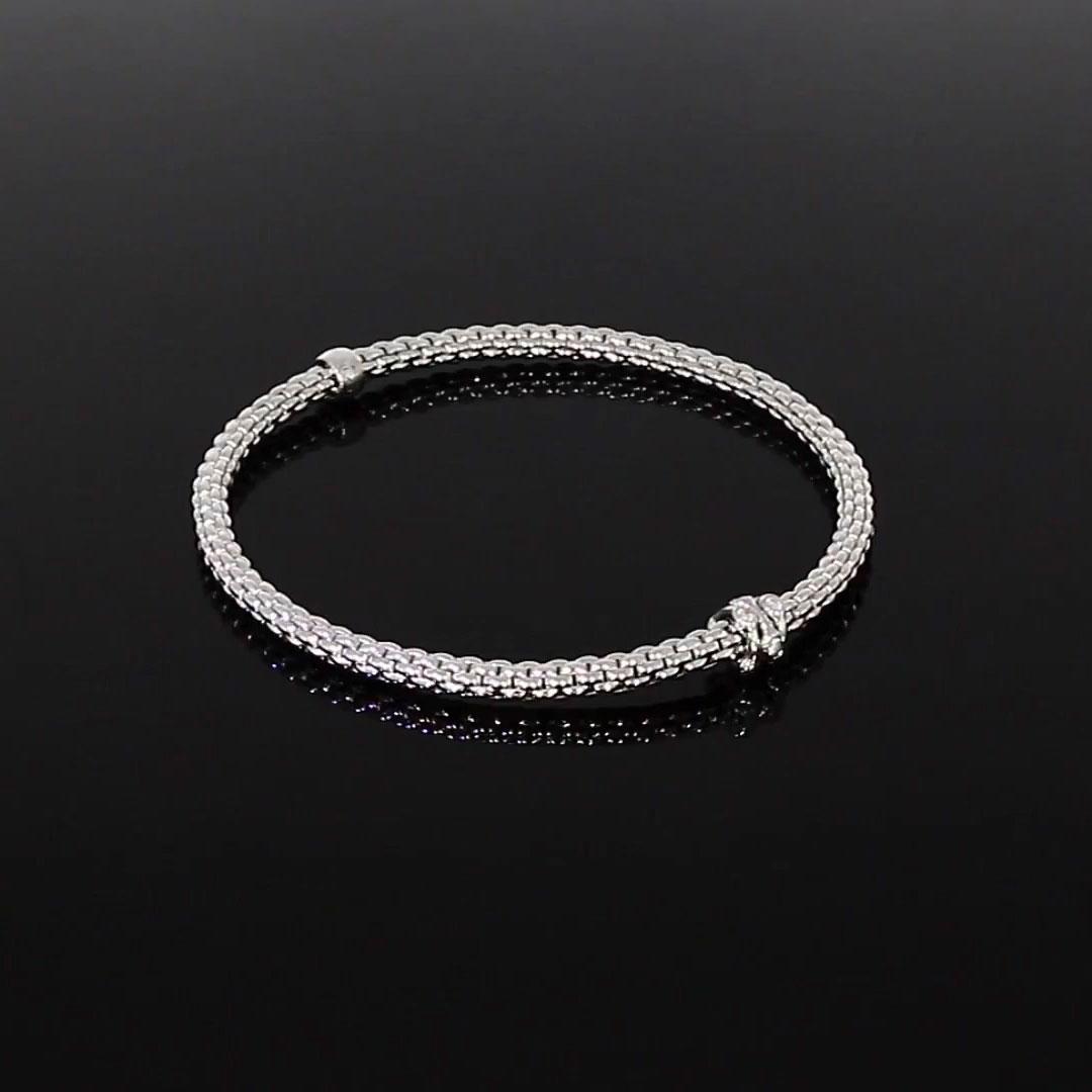 Fope Flex'it Diamond Bracelet<br /> 0.12CT in 18CT White Gold