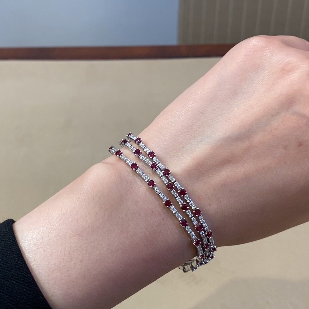 Ruby and Diamond Three-Row Bracelet<br /> 7.11CT in 18CT White Gold