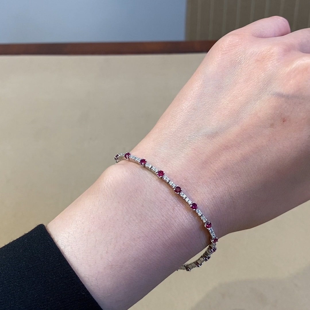 Ruby and Diamond Bracelet<br /> 2.58CT in 18CT White Gold