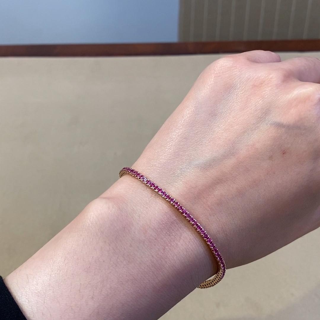 Brilliant Pink Sapphire Line Bracelet<br /> 2.46CT in 18CT Rose Gold