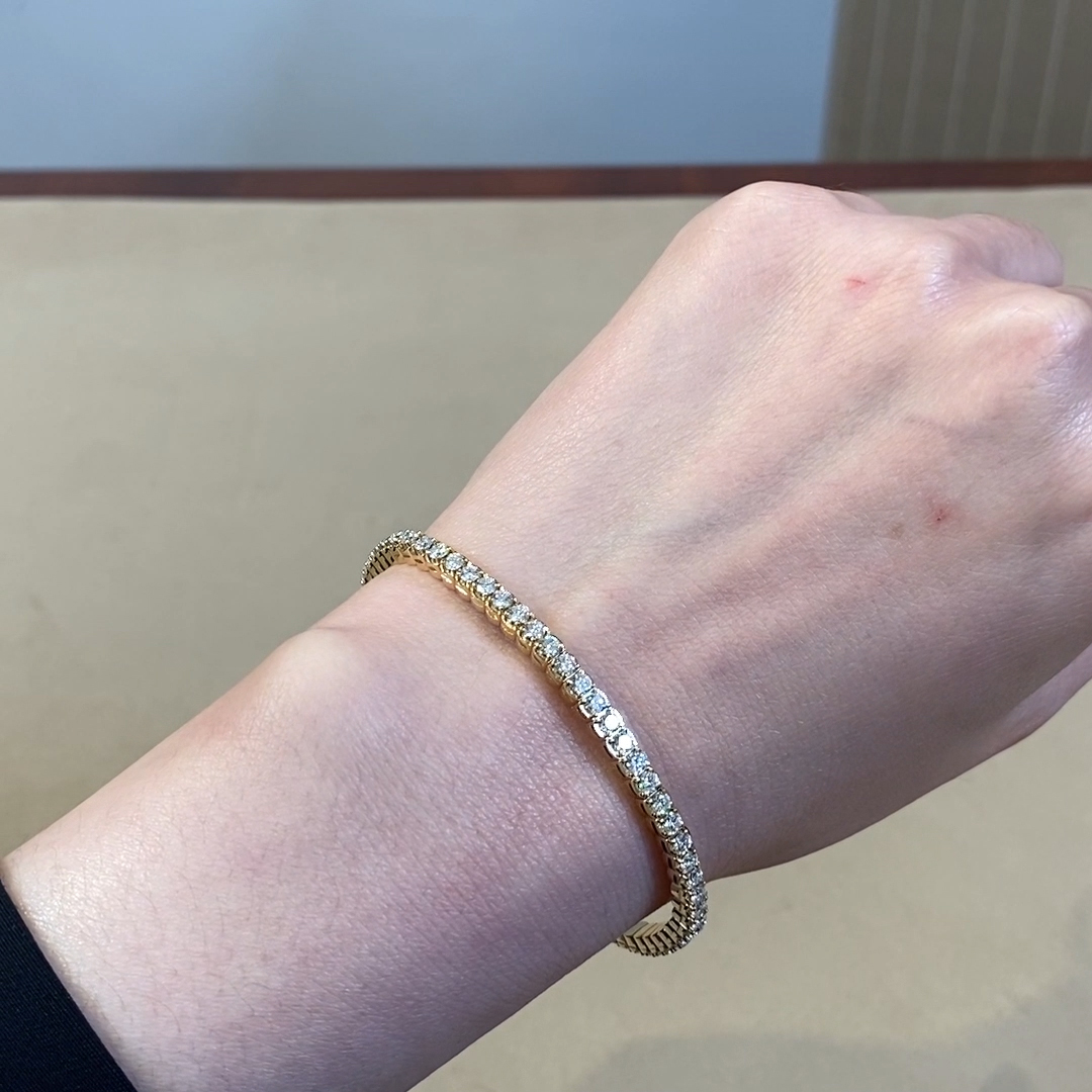 Expandable Diamond Bangle <br /> 4.21ct in Yellow Gold