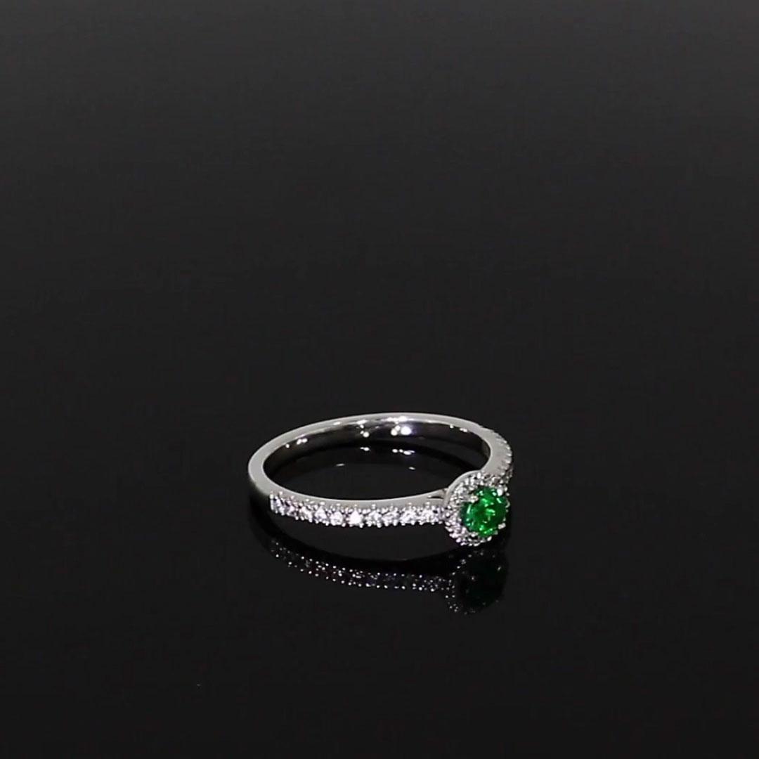 Round Brilliant Cut Emerald Ring<br /> 0.25CT in 18CT White Gold