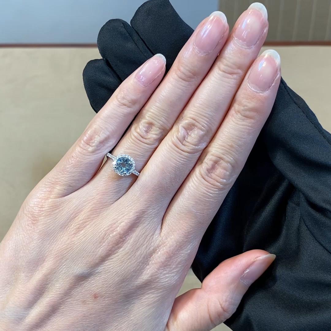 Brilliant Cut Aquamarine and Diamond Ring<br /> 0.70CT in 18CT White Gold