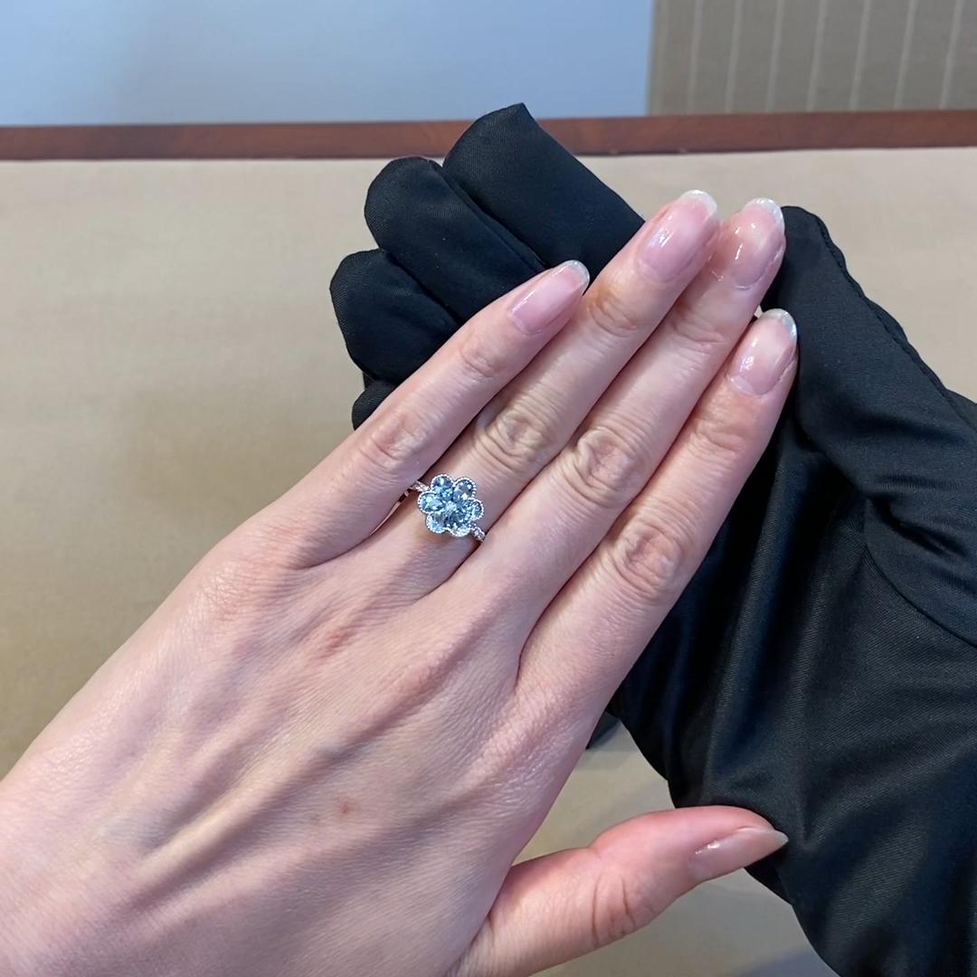 Flourish Aquamarine Ring<br /> 0.89CT in 18CT White Gold