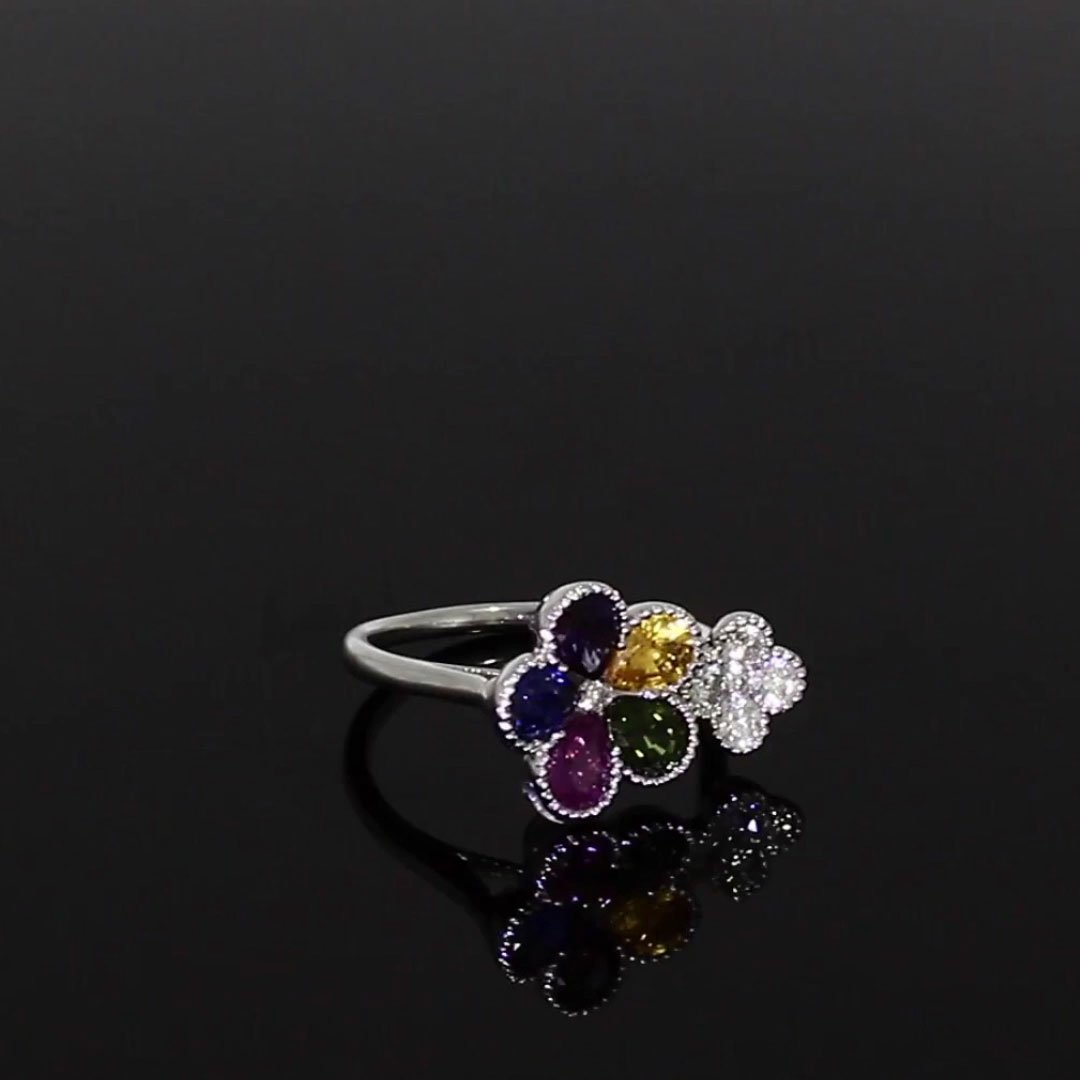 Flourish Sapphire and Diamond Ring<br /> 2.25CT in 18CT White Gold