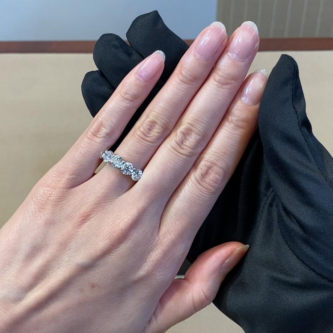 Round Brilliant Cut Diamond Five Stone Ring <br /> 3.04CT in Platinum