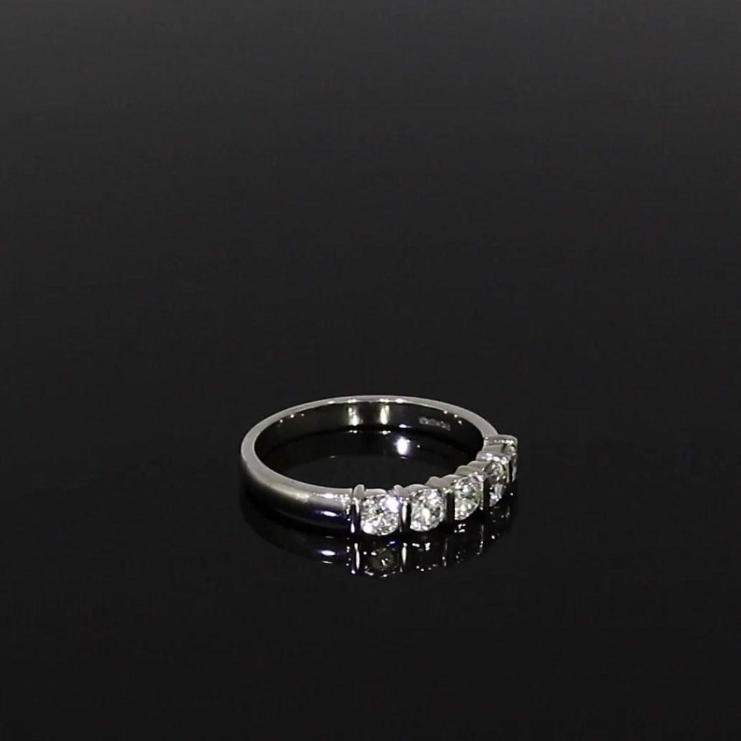 Round Brilliant Cut Diamond Five-Stone Ring<br /> 0.75CT in Platinum