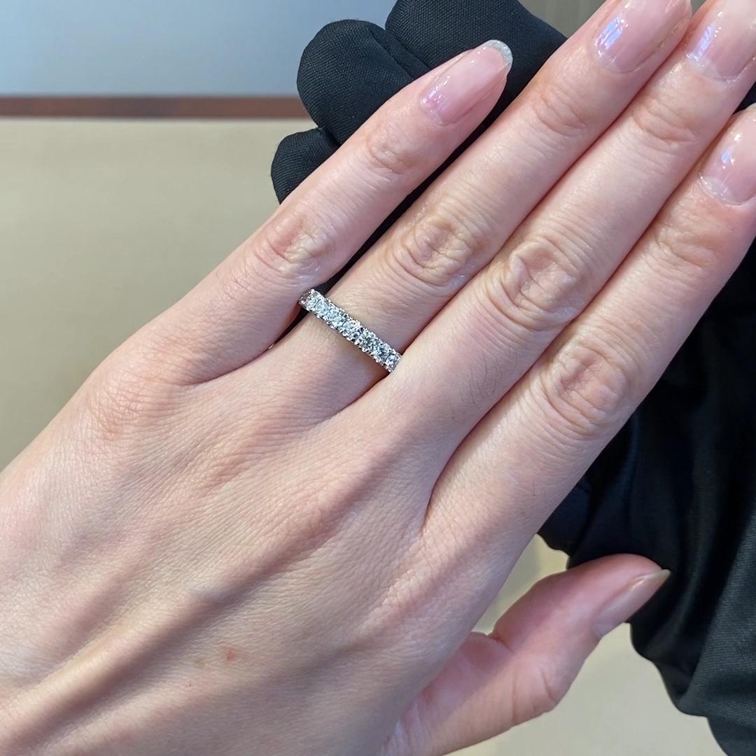 Brilliant Cut Diamond Half Eternity Ring<br /> 0.74CT in Platinum