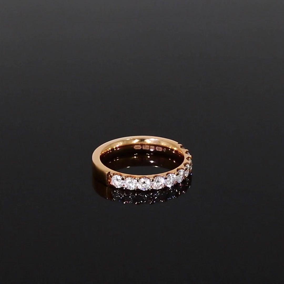 Brilliant Cut Diamond Half Eternity Ring<br /> 0.90CT in 18CT Rose Gold