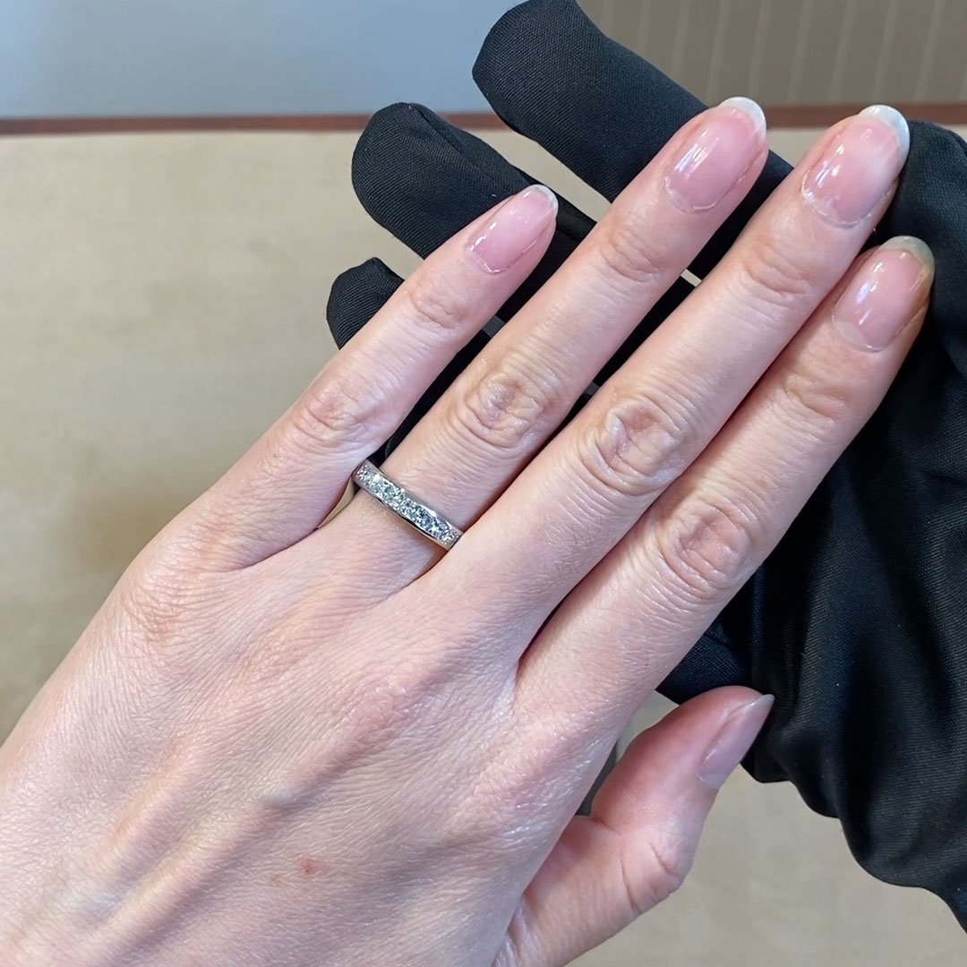 Princess Cut Diamond Half Eternity Ring<br /> 1.17CT in Platinum
