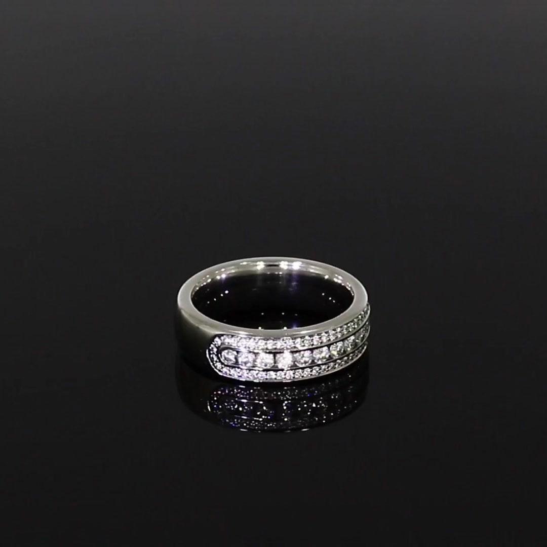 Round Brilliant Cut Diamond Three-Row Ring<br /> 0.76CT in Platinum