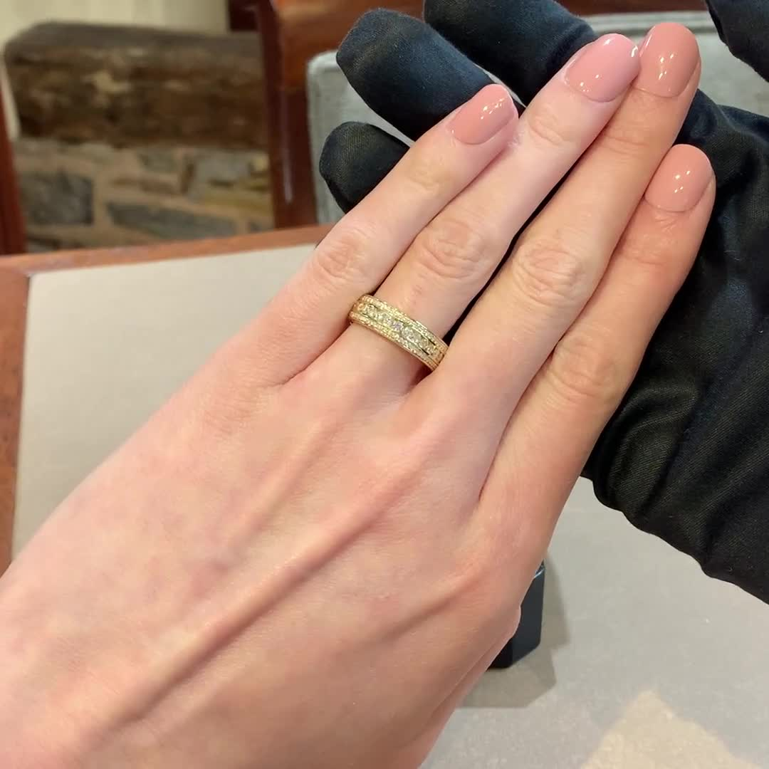 Round Brilliant Cut Diamond Three-Row Ring<br /> 0.76CT in 18CT Yellow Gold