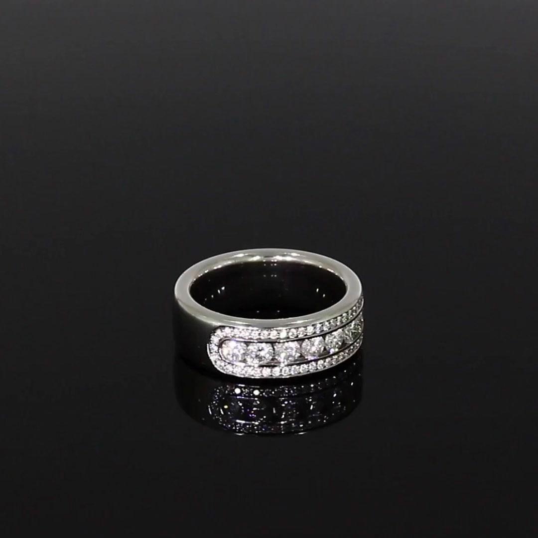 Round Brilliant Cut Diamond Three-Row Ring<br /> 1.35CT in Platinum