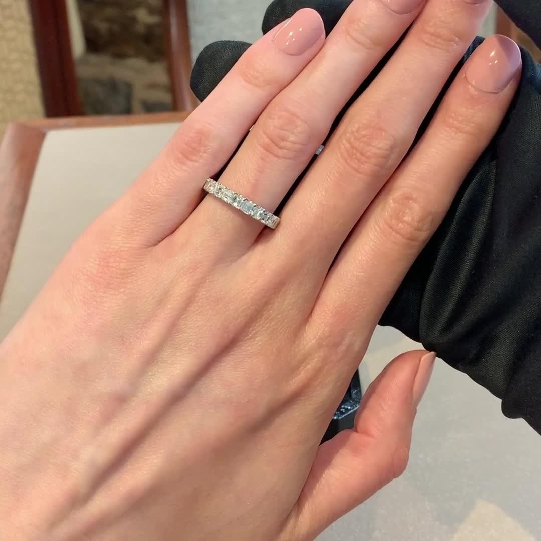 Asscher Cut Diamond Nine Stone Ring <br /> 1.08CT in Platinum