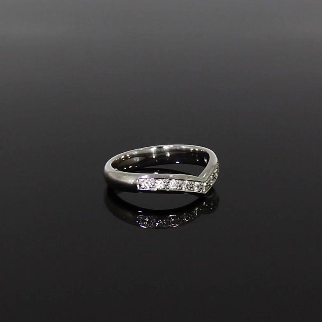 Round Brilliant Cut Diamond V-Shape Ring<br /> 0.28CT in Platinum