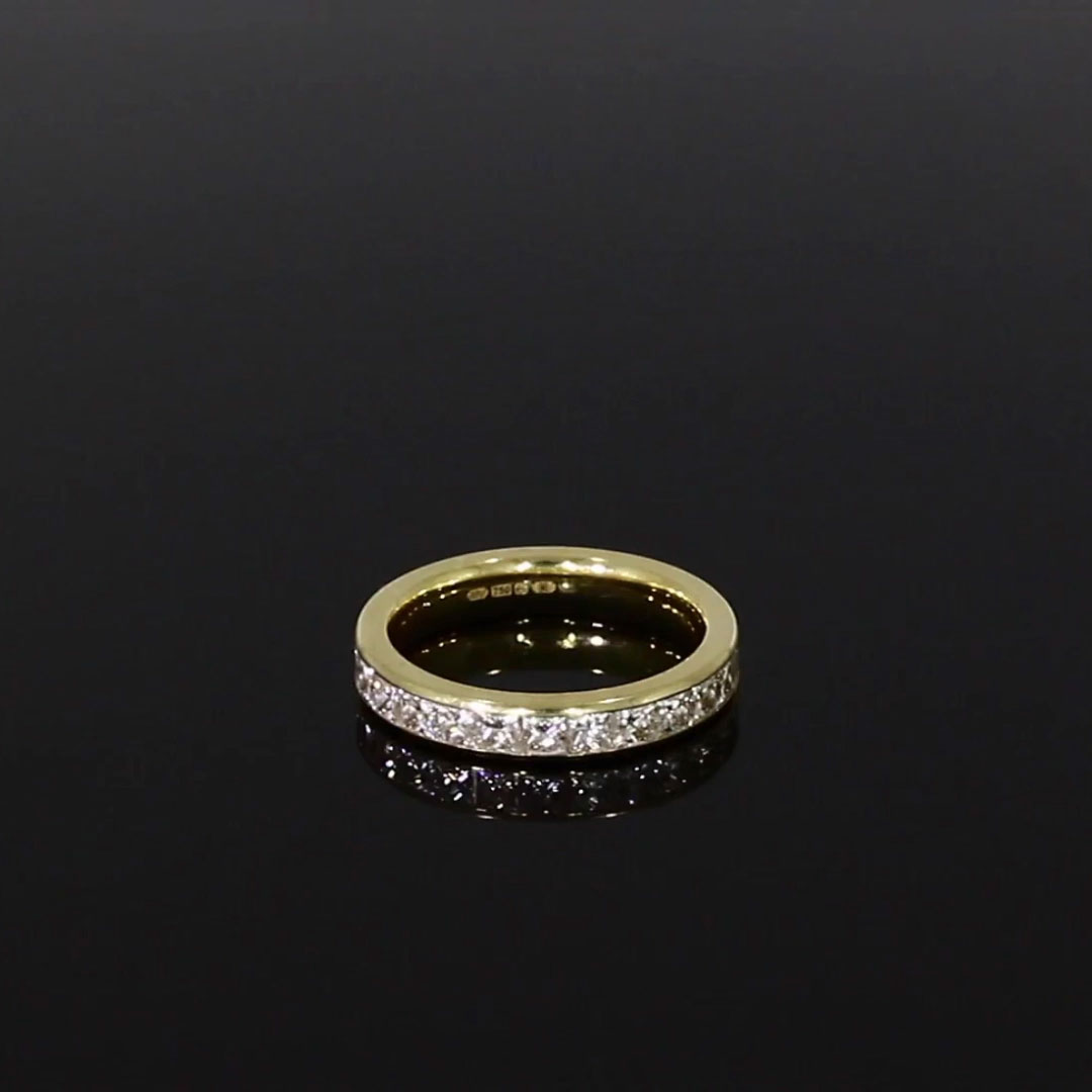 French Cut Diamond Eternity Ring <br /> 1.48CT in Yellow Gold