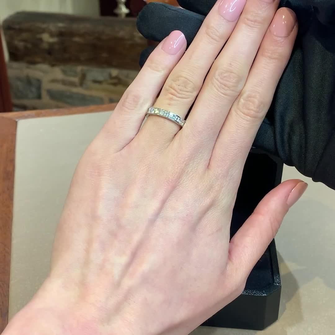 French Cut Diamond Half Eternity Ring<br /> 1.16CT in Platinum