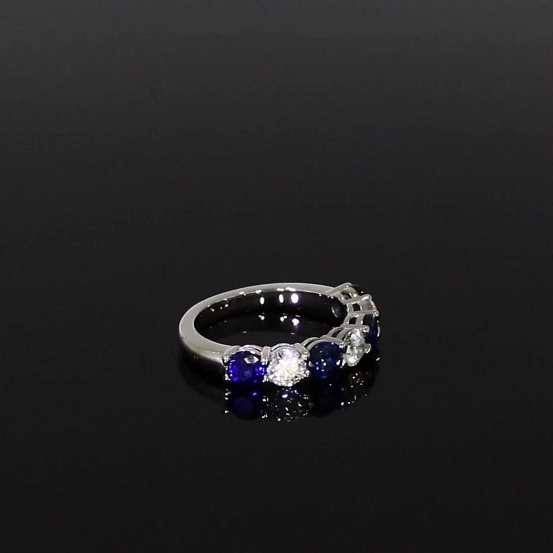Seven Stone Sapphire and Diamond Ring<br />  2.10CT in Platinum