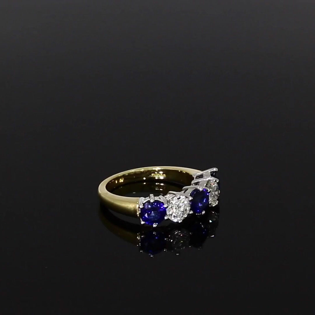 Sapphire and Diamond Five Stone Ring <br /> 2.86CT in 18CT Yellow and White Gold