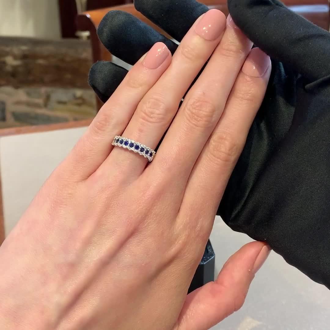Brilliant Cut Sapphire and Diamond Ring<br /> 0.83CT in 18CT White Gold