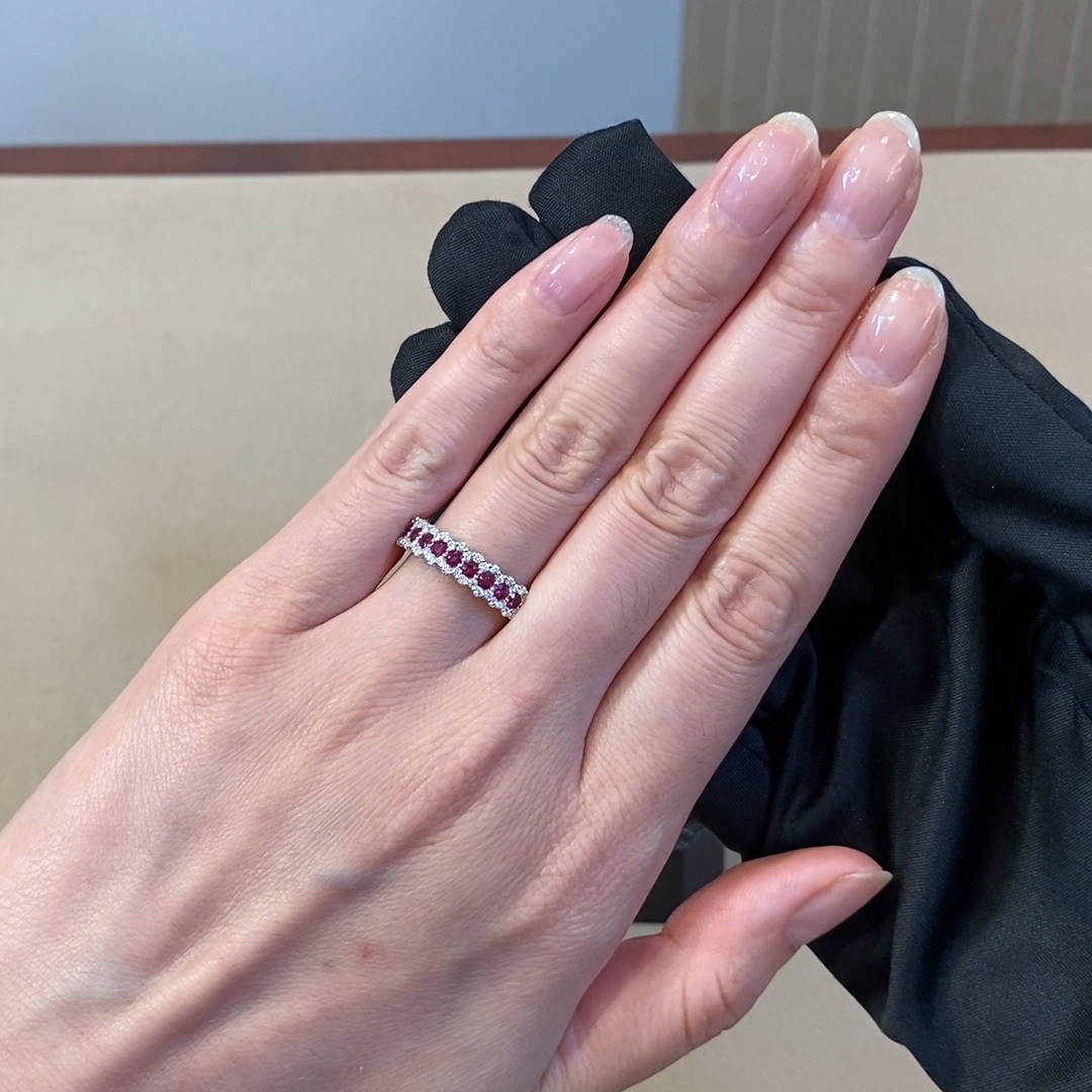 Ruby and Diamond Eternity Ring<br /> 0.82CT in 18CT White Gold